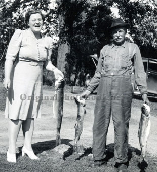 Jane & Mike with the catch of the day - circa 1940