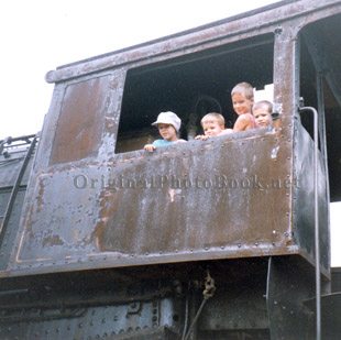 JIm, Mark, Andy & Don in the cab of old steam engine - Circa 1989